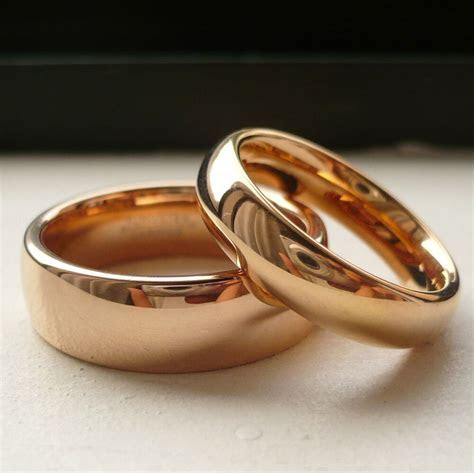 TUNGSTEN CARBIDE ROSE GOLD PLATED HIS & HER WEDDING BAND