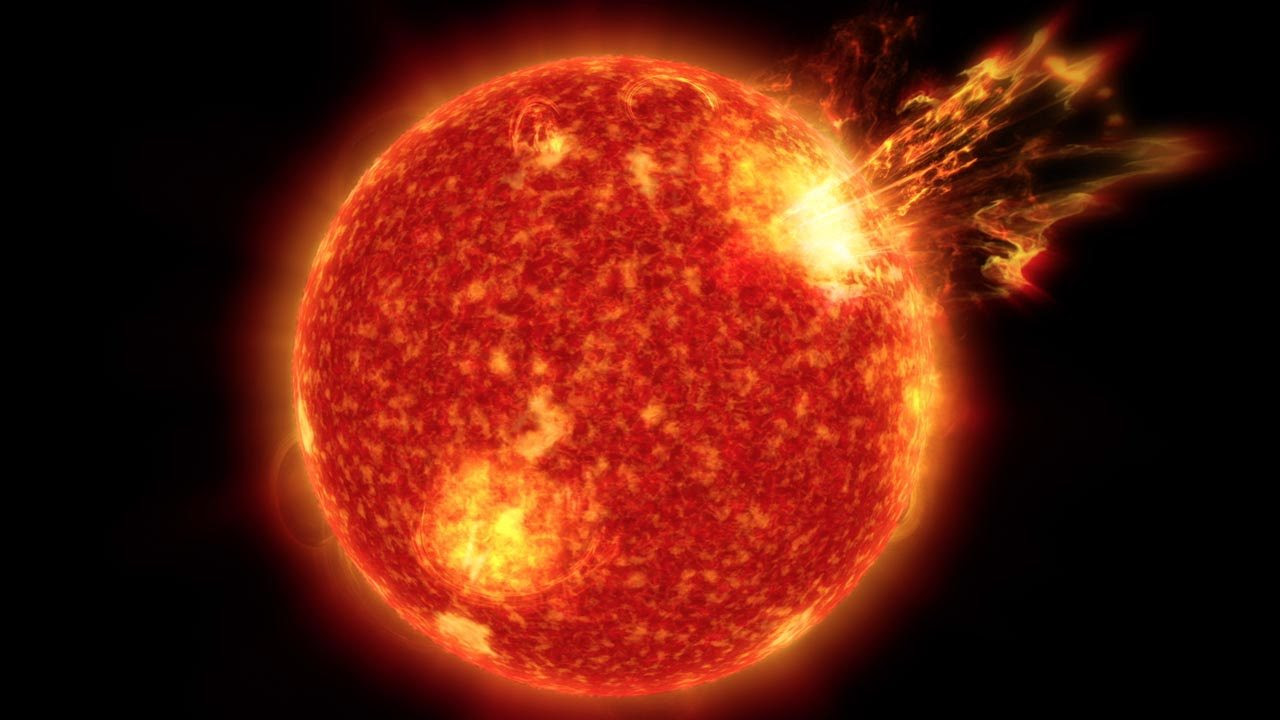 Solar storms are massive eruptions of plasma and charged particles that are blasted into space from the sun. Image credit: NASA