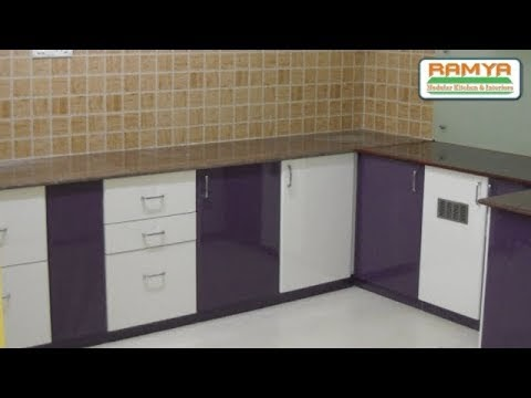 Purple & White colours, High Glossy Finish For Ramya Modular Kitchen, Mr Kiran Mohan Chengalpet,