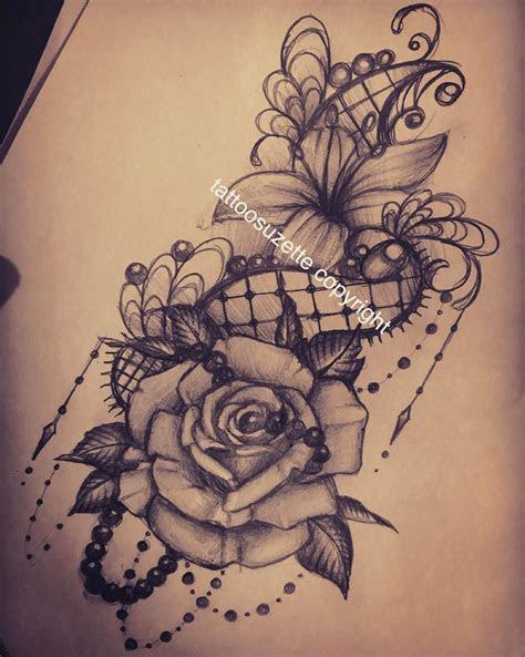 tatouage dentelle rose tattoosuzette deviantart