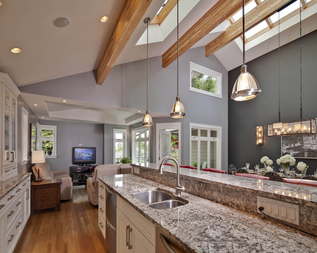 Kitchen with vaulted ceiling and skylight - contemporary - kitchen ...