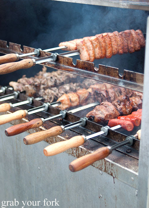 charcoal chicken lamb and chorizo skewers at the grounds of alexandria markets