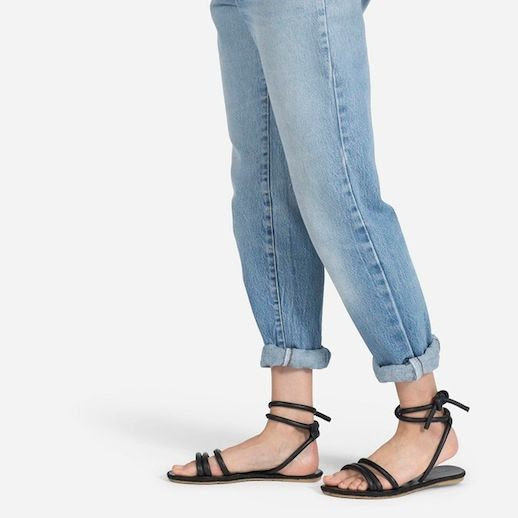 Le Fashion Blog Everlane The Knot Sandal Rolled Boyfriend Jeans Black Ankle Wrap Flat Sandals