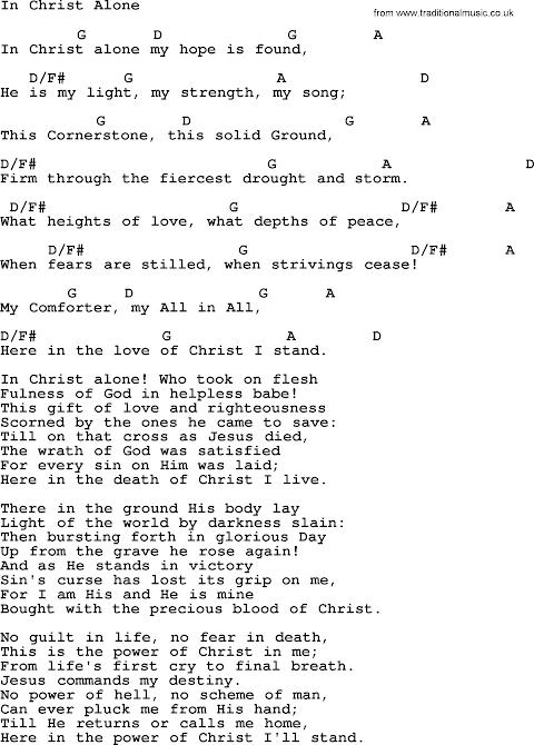In Christ Alone Lyrics And Chords Key Of C