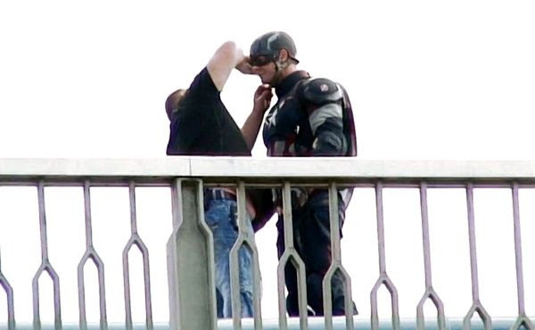 A stunt performer is suited up as CAPTAIN AMERICA on the set of AVENGERS: AGE OF ULTRON.