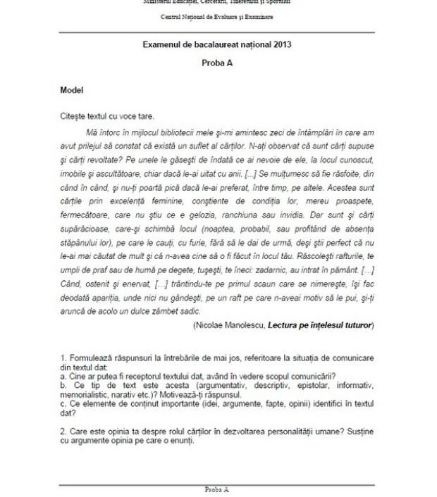Subiecte model limba romana - bacalaureat (proba orala)