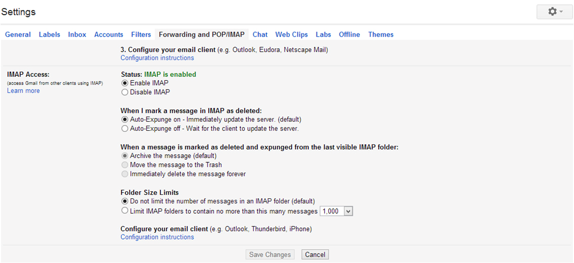 gmail outlook 2010 settings