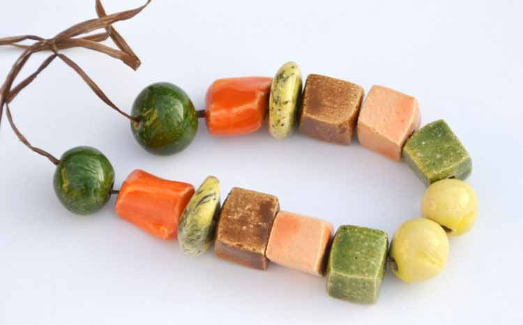 Indian Summer II Handmade Ceramic Beads in Various Shapes - KaysCreaCorner
