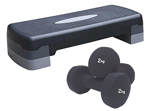 Aerobic Step Exercise step training workout stepper with 2 x 2kg Dumbbells