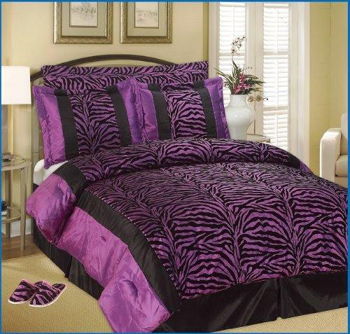 Cheap Full / Queen Faux Silk and Flocking Black / Purple ...