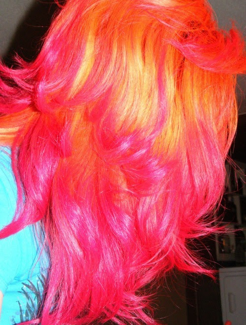Tags: orange hair , pink hair , pink tips , orange tips , dip dye ,