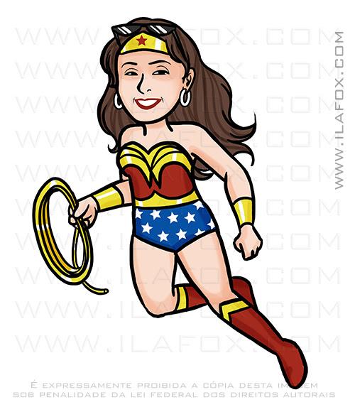 caricatura personalizada, caricatura simples, caricatura mulher maravilha, caricatura digital, ila fox