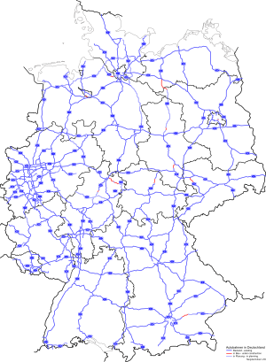 Highways in Germany as in August 2009