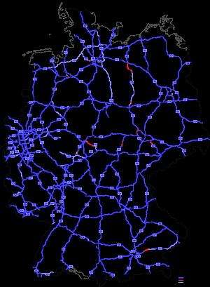 Highways in Germany as in August 2009