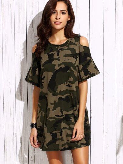 Olive Green Open Shoulder Camo Dress
