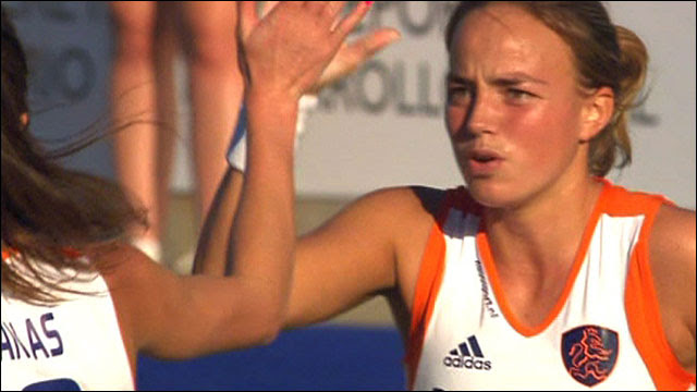 Maartje Paumen celebrates scoring for the Netherlands as they beat Japan 5-2 at the Hockey World Cup