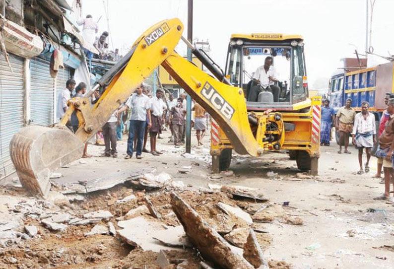 திருச்சி காந்திமார்க்கெட் பகுதியில் 75 ஆக்கிரமிப்பு கடைகள் அகற்றப்பட்டன அதிகாரிகள் நடவடிக்கை