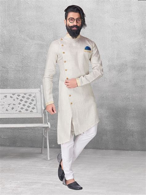 Shop Cream color silk kurta suit online from G3fashion
