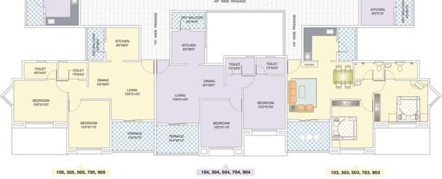 Nirman Viva Amebgaon Budruk D Building Odd Floors Available Front View - Club House Swimming Pool View - 2 BHK Flats D103, D104, D105, D304, D305