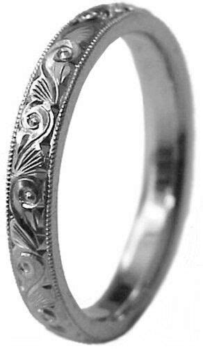 BRAND NEW LADY HAND ENGRAVED 3 MM WIDE PURE PALLADIUM