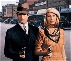 Clyde Barrow (Warren Beatty) and Bonnie Parker (Faye Dunaway)