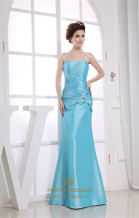 Blue Taffeta Sleeveless Mermaid Spaghetti Straps Long