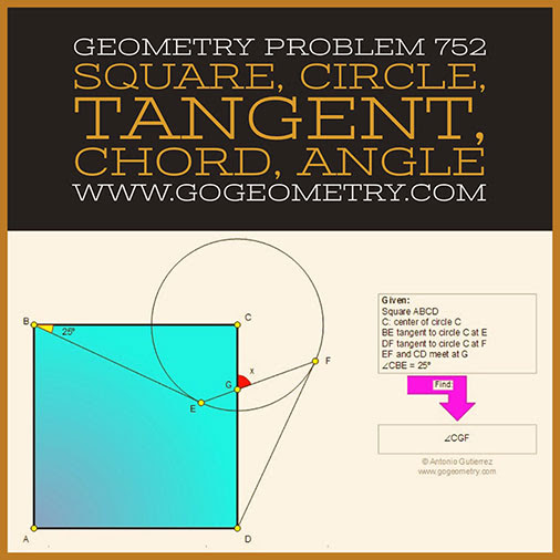 Typography of Geometry Problem 752: Square, Circle, Tangent, Chord, Angle, Measurement, iPad Apps using iPad Apps.