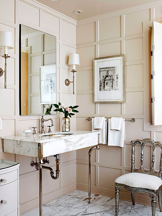 Floor to ceiling paneled walls make this bath... | Design ...