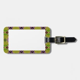 Luggage Tag with Beautiful Olive Patterned Border
