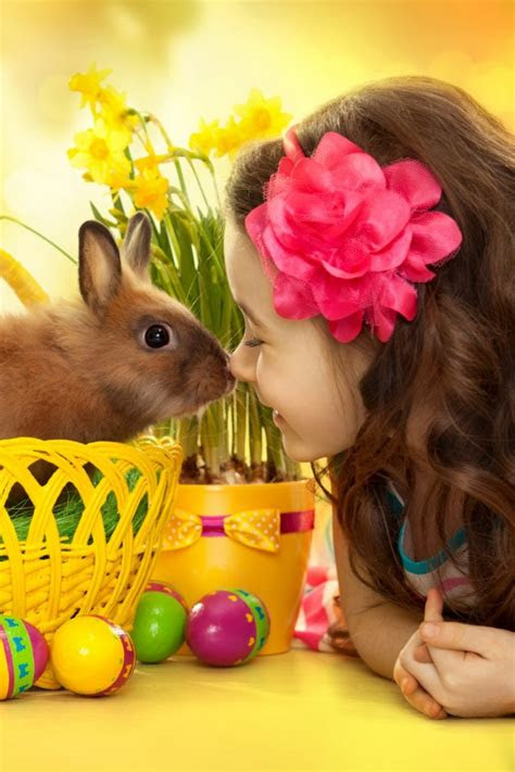 wallpaper easter eggs easter bunny cute girl hd