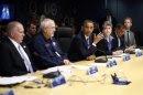 U.S. President Barack Obama visits the FEMA headquarters following Hurricane Sandy in Washington