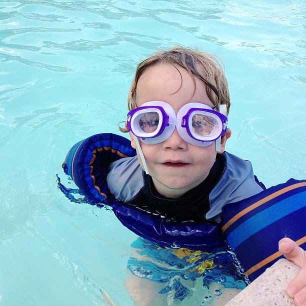 He borrowed goggles from lost and found...
