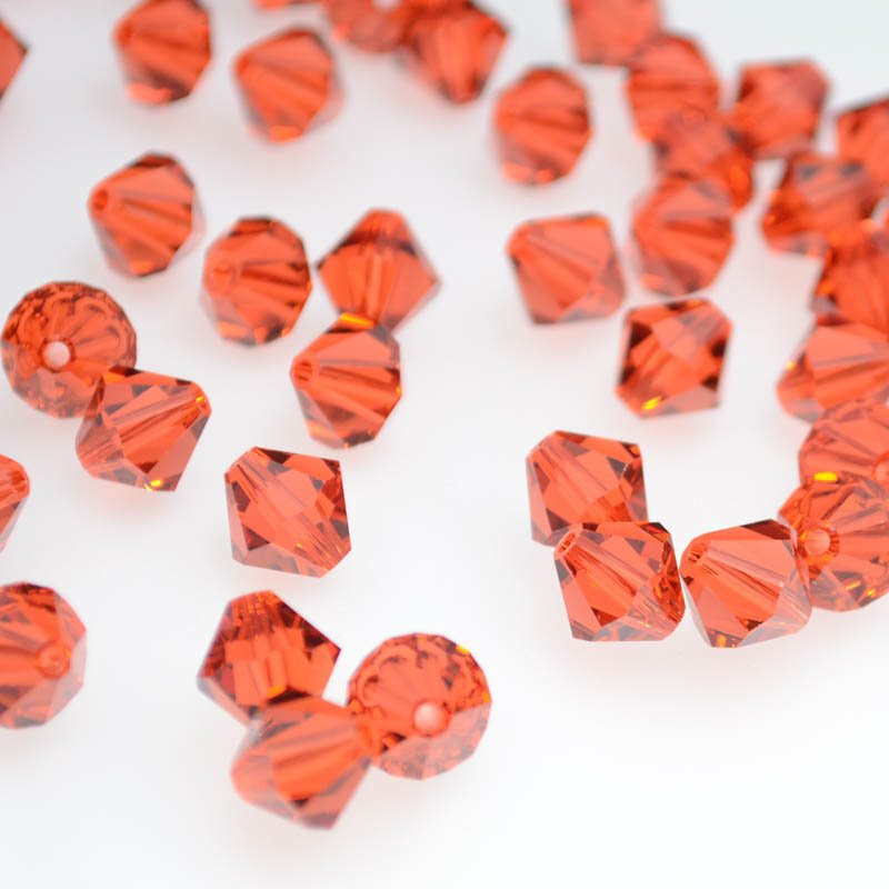 2775301s39247 Swarovski Bead - 8 mm Faceted Bicone (5301) - Indian Red (1)