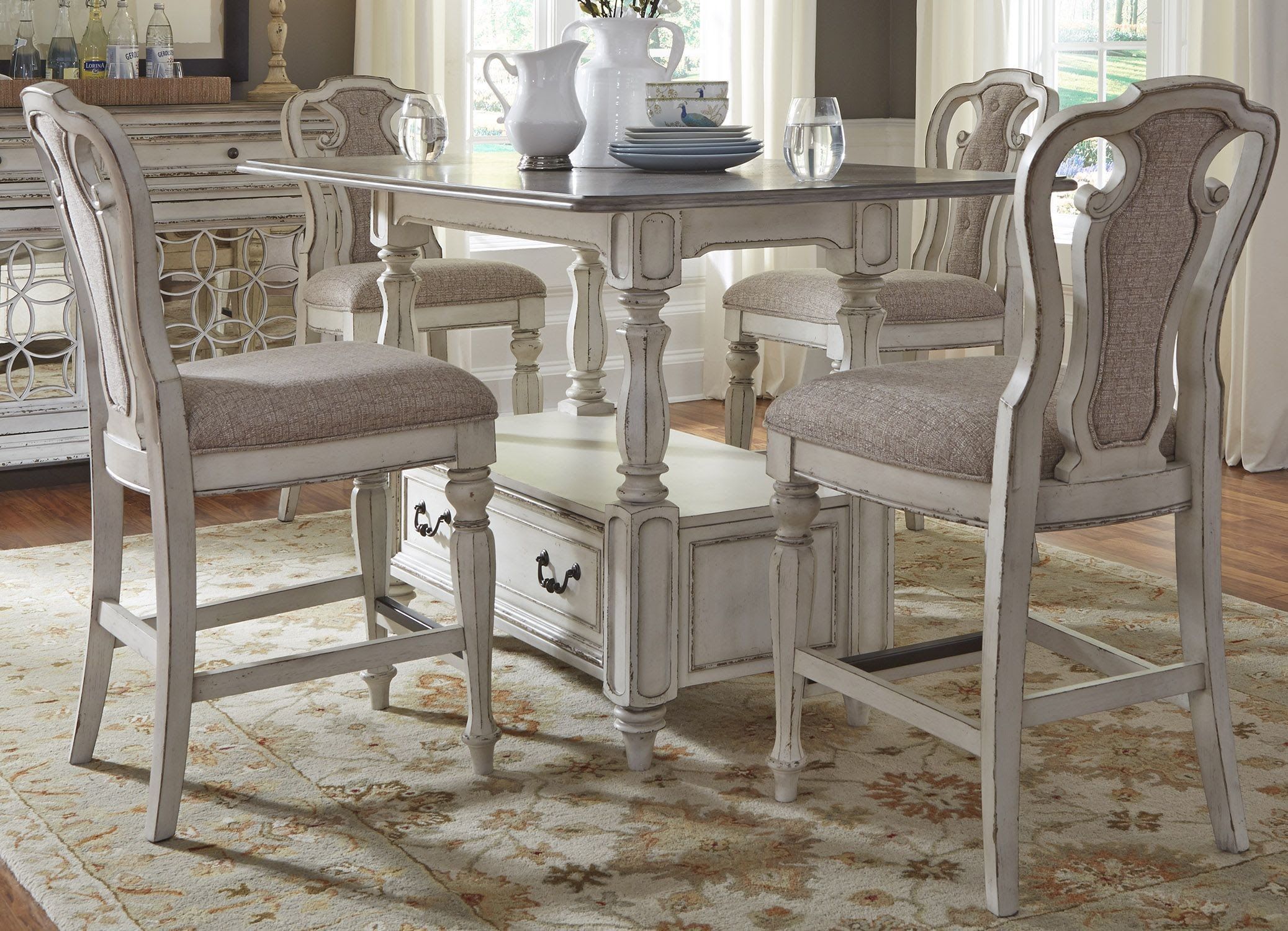 Magnolia Manor Antique White Rectangular Counter Height ...