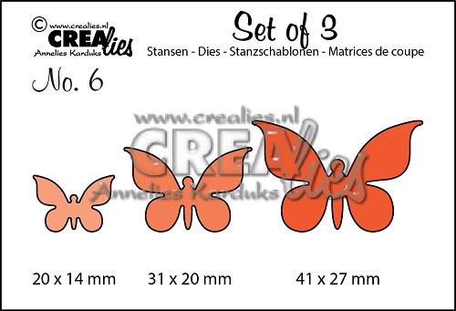 Set of 3 stansen no. 6 Vlinders 2/ Set of 3 dies no. 6 Butterflies 2