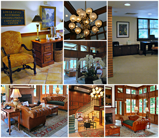 Photo Collage of the Lobby of the Olmsted House at the Crandall Resort, Spa, and Golf Club