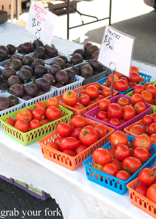 Passionfruit and tomatoes at Frenchs Forest Organic Food Market