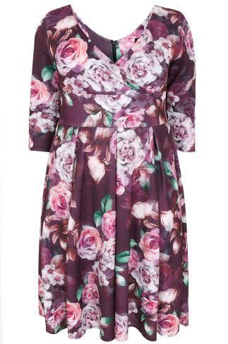 LADY VOLUPTUOUS Purple Rose Print Marchella Dress, Plus