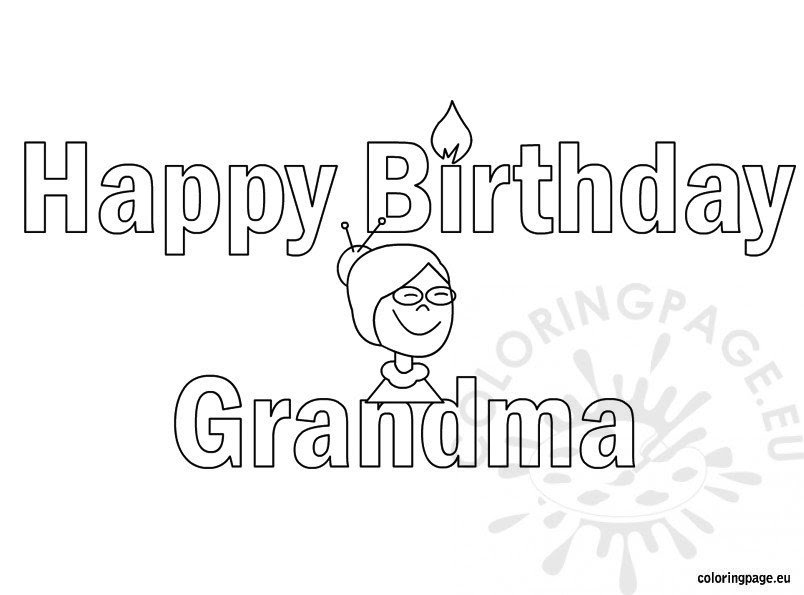 Happy Birthday grandma coloring page - Coloring Page