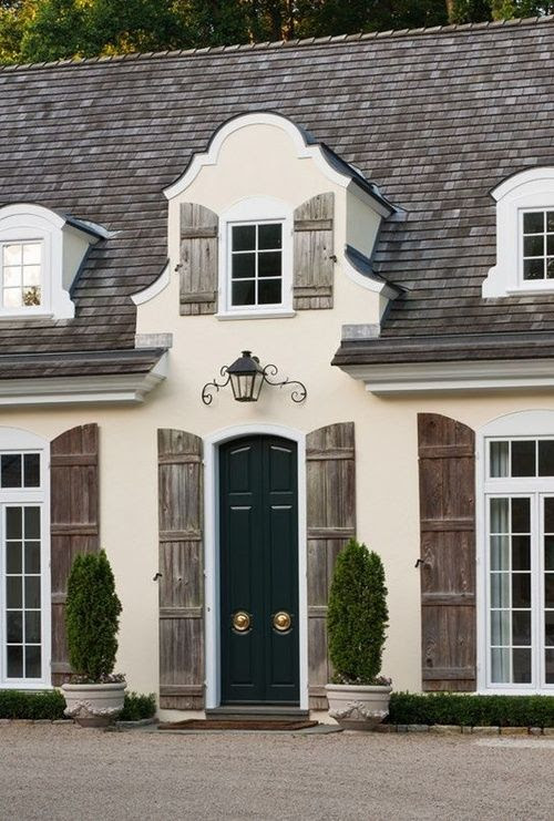 Architectural Alliteration and Imagination was Used on This Special Home in Haverford, Pa.'s Central Dormer Window, Along with the Rest of the Front of the House, Love the Shutters and the Colors Used, Along with the Centalized Front Door Handles.