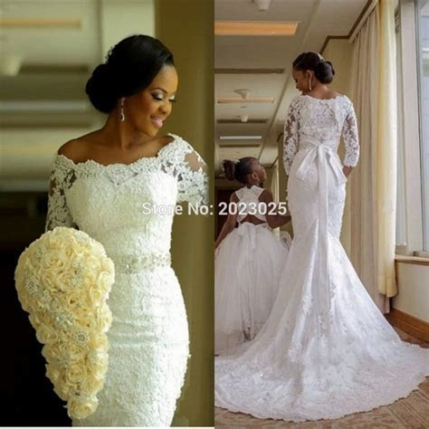 South Africa Sheer Lace Wedding Dress 2017 Three Quarter