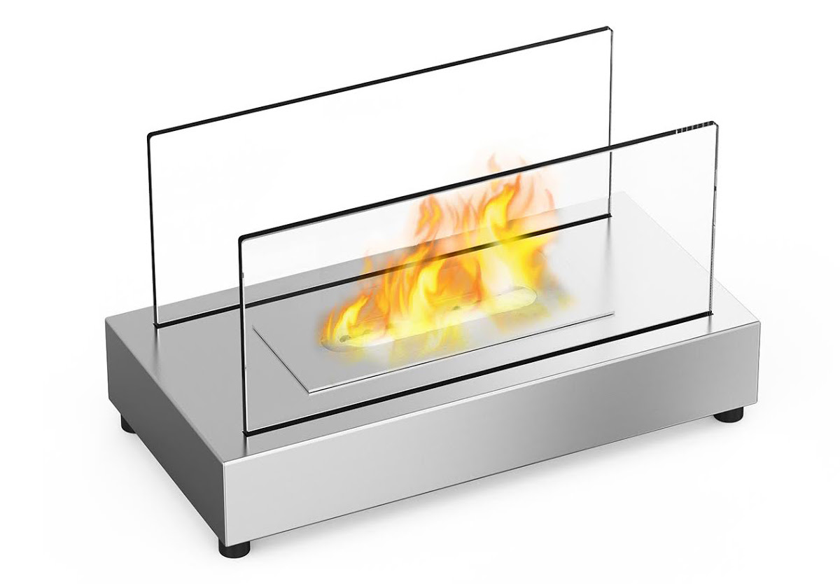 Vigo Ventless Tabletop Bio Ethanol Fireplace In Stainless Steel