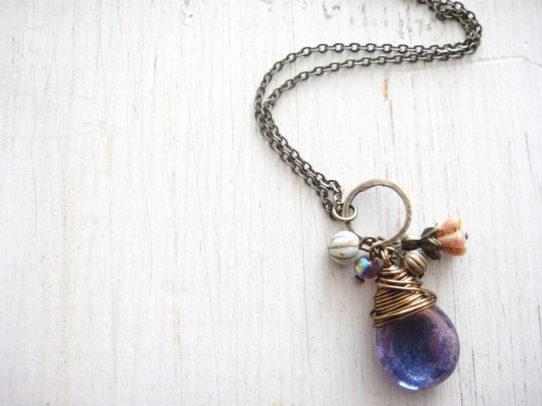 Amethyst teardrop Necklace, Czech teardrop bead wire wrapped in antique brass wire