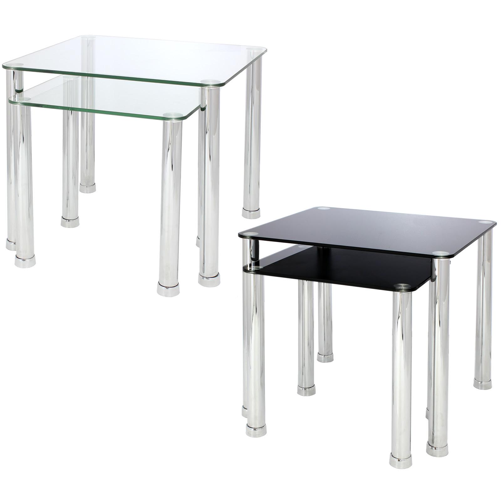 NEST OF 2 GLASS CHROME TABLES HOME/LOUNGE/LIVING ROOM SET ...