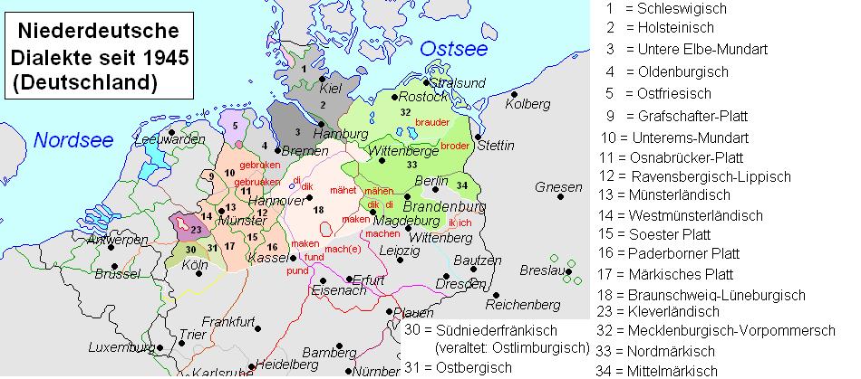 Lenguas germánicas, El alemán en 1945