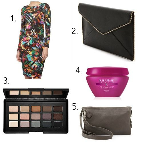 NARS eyeshadow - Nicole Miller dress - Foley + Corinna handbag - Kerastase hair mask - Rebecca Minkoff clutch