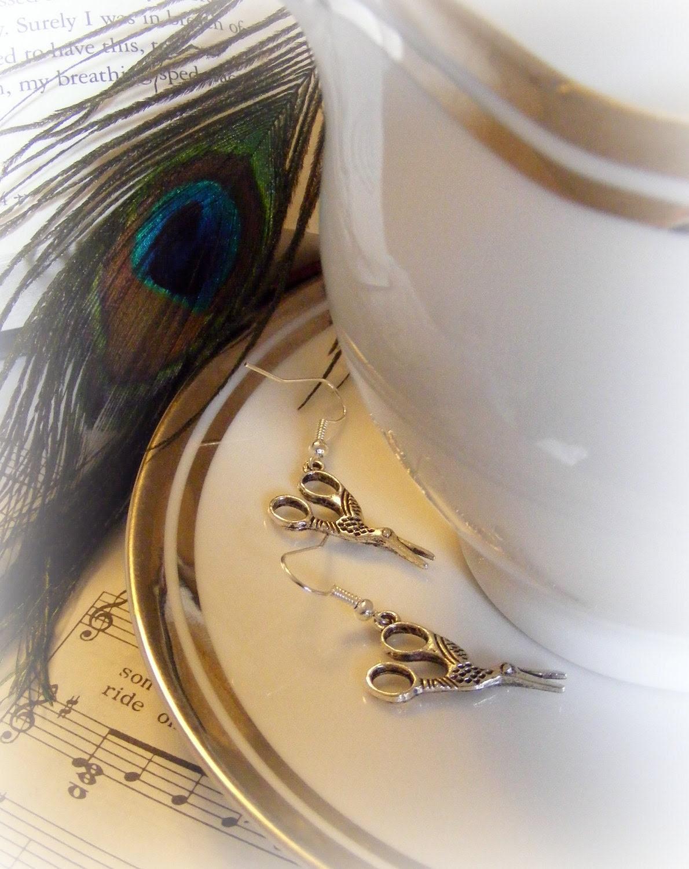 Earrings Scissor Birds