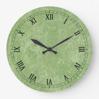 Marmorino Green Faux Finish Wall Clock