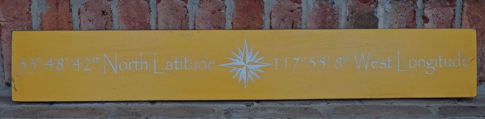 Latitude and Longitude Wood Sign -  Typography Word Art - You Choose Location Coordinates - Your Choice of Colors