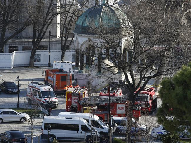 Scene ... rescue services rushed to the scene of an explosion in the historic Sultanahmet district of Istanbul. Picture: AP Photo/Emrah Gurel